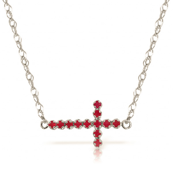 Ruby Cross Pendant Necklace 0.3 ctw in 9ct White Gold