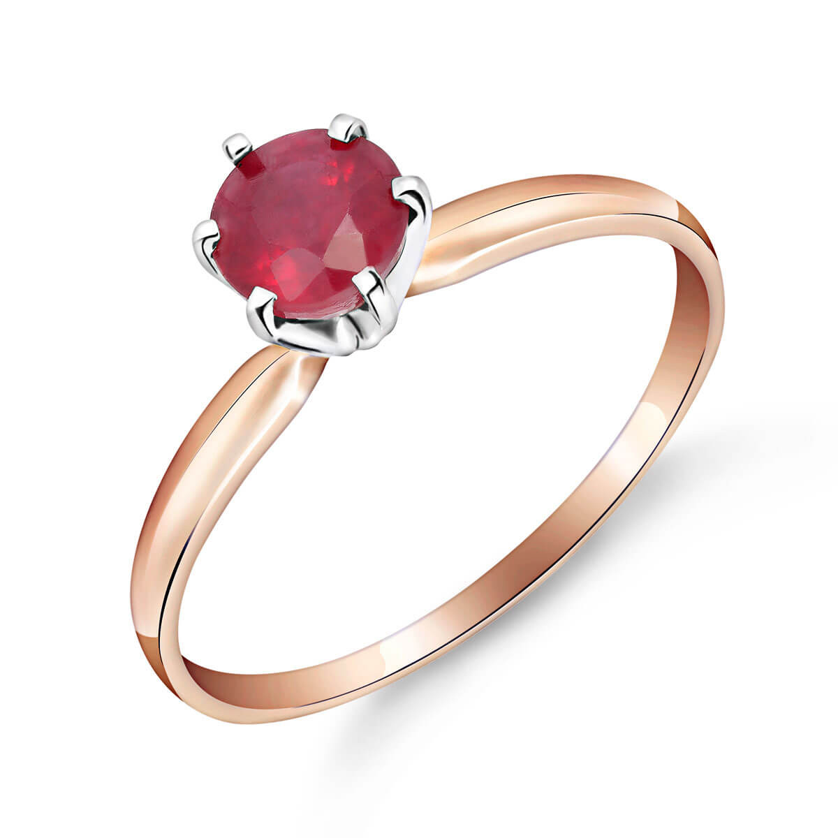 Ruby Crown Solitaire Ring 0.65 ct in 9ct Rose Gold