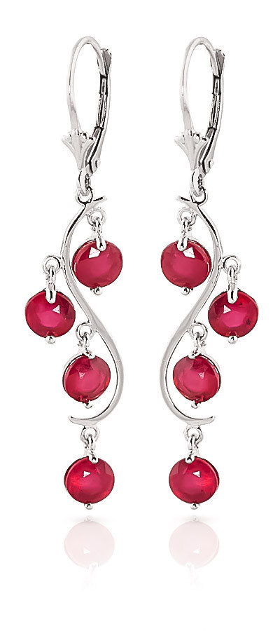 Ruby Dream Catcher Drop Earrings 4 ctw in 9ct White Gold