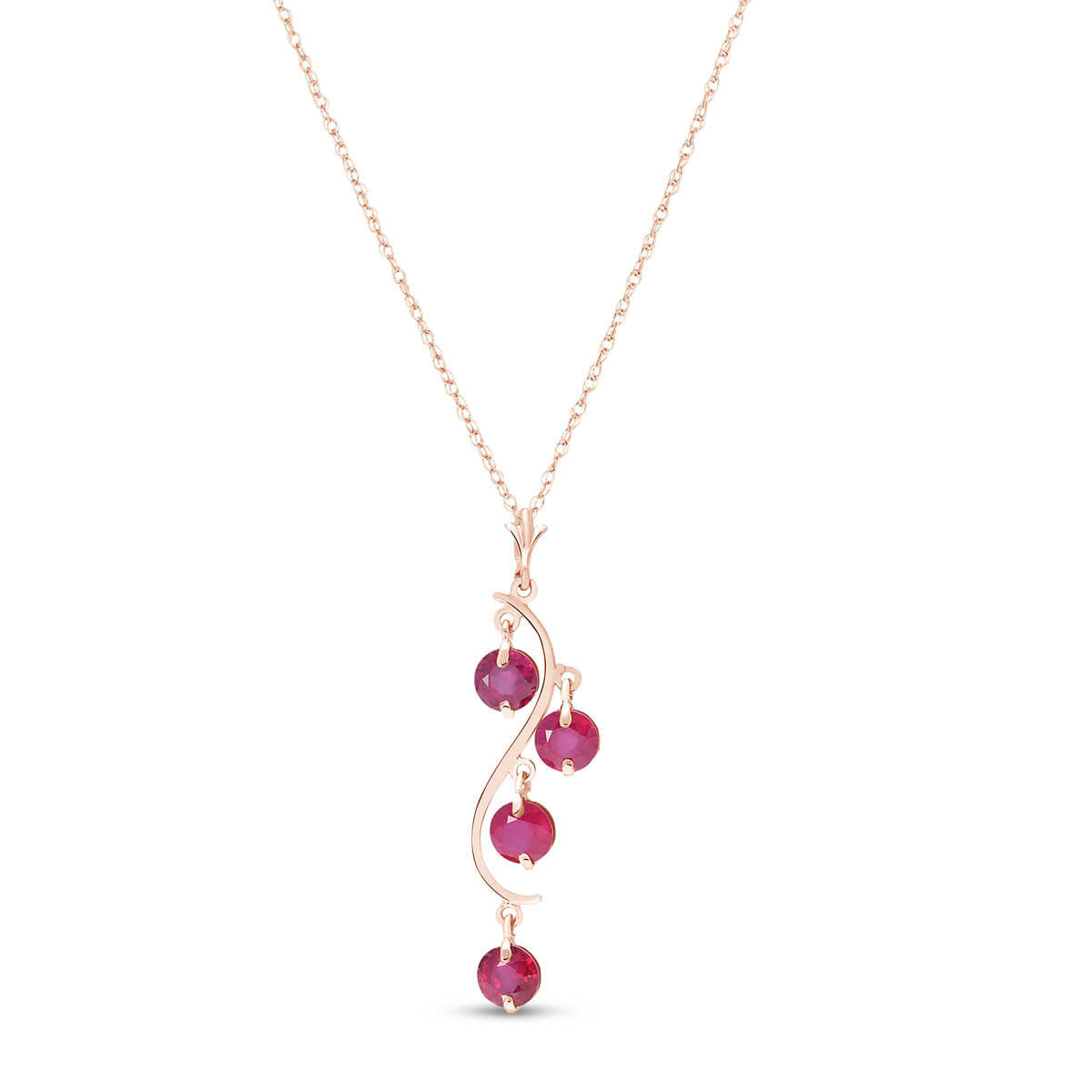 Ruby Dream Catcher Pendant Necklace 2 ctw in 9ct Rose Gold