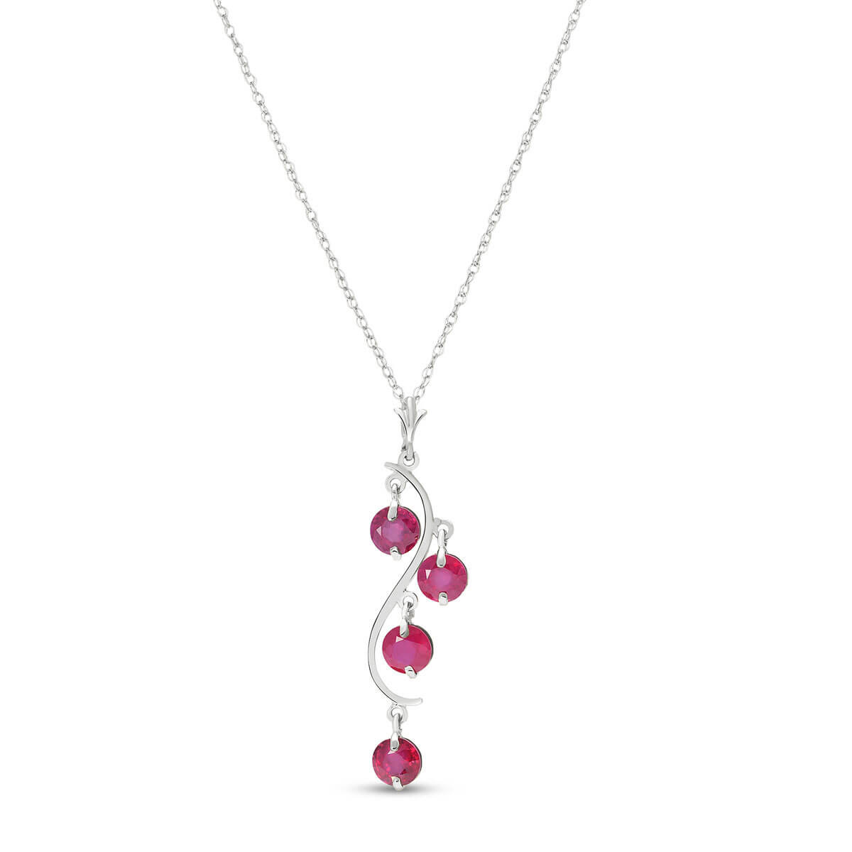 Ruby Dream Catcher Pendant Necklace 2 ctw in 9ct White Gold
