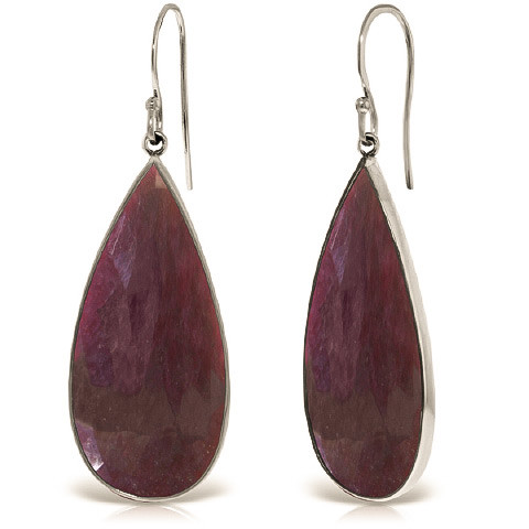 Ruby Drop Earrings 40 ctw in 9ct White Gold