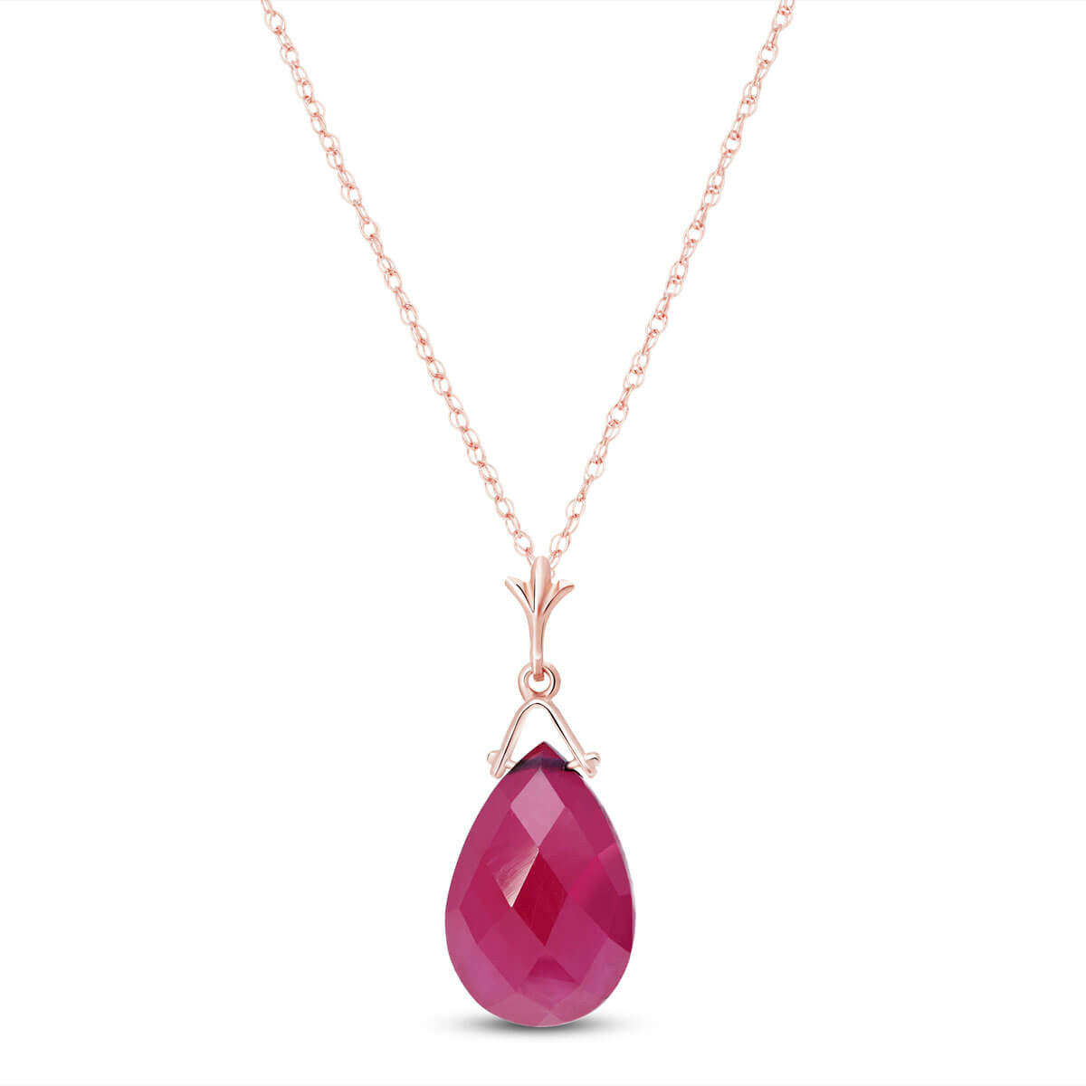 Ruby Droplet Pendant Necklace 8 ct in 9ct Rose Gold