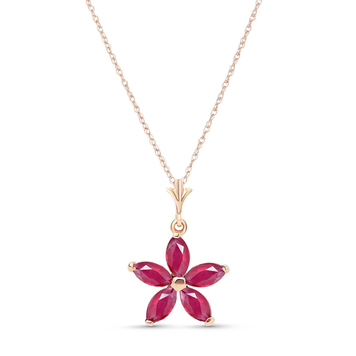 Ruby Flower Star Pendant Necklace 1.4 ctw in 9ct Rose Gold