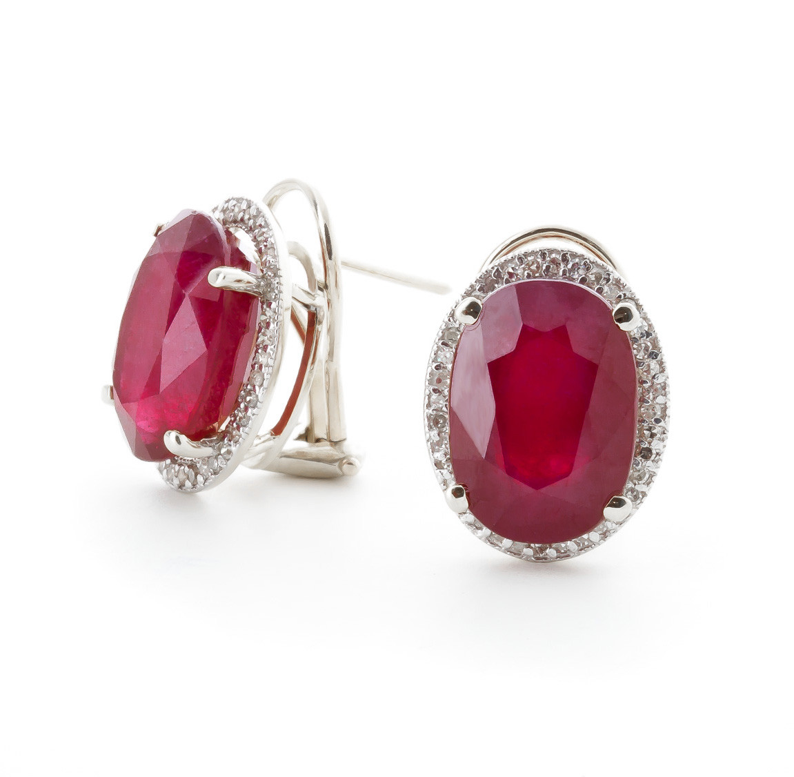 Ruby French Clip Halo Earrings 15.86 ctw in 9ct White Gold