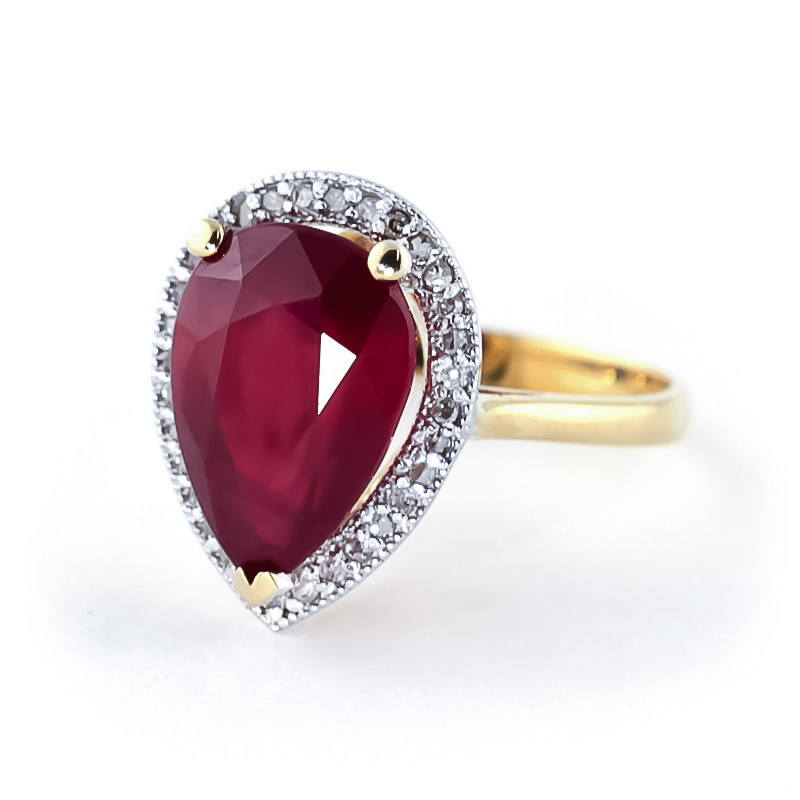 Ruby Halo Ring 5.51 ctw in 9ct Gold