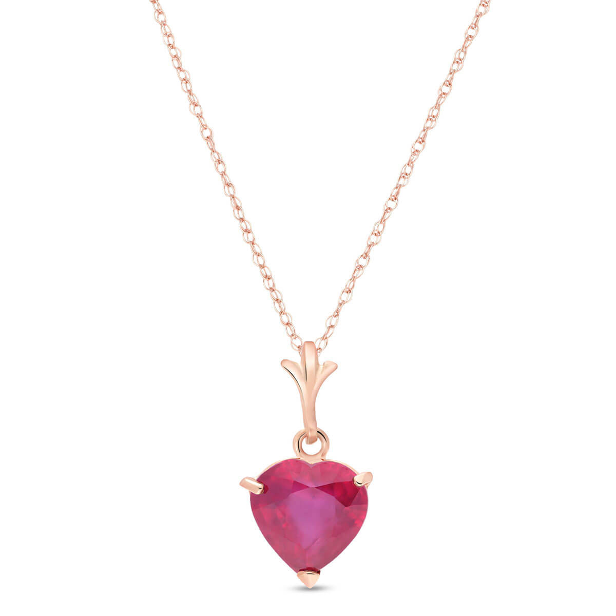 Ruby Heart Pendant Necklace 1.45 ct in 9ct Rose Gold