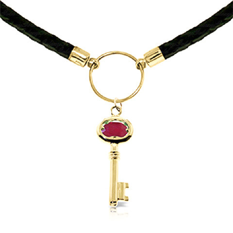 Ruby Key Charm Leather Pendant Necklace 0.5 ct in 9ct Gold