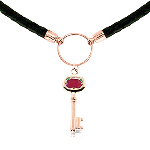 Ruby Key Charm Leather Pendant Necklace 0.5 ct in 9ct Rose Gold