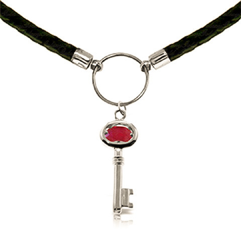 Ruby Key Charm Leather Pendant Necklace 0.5 ct in 9ct White Gold