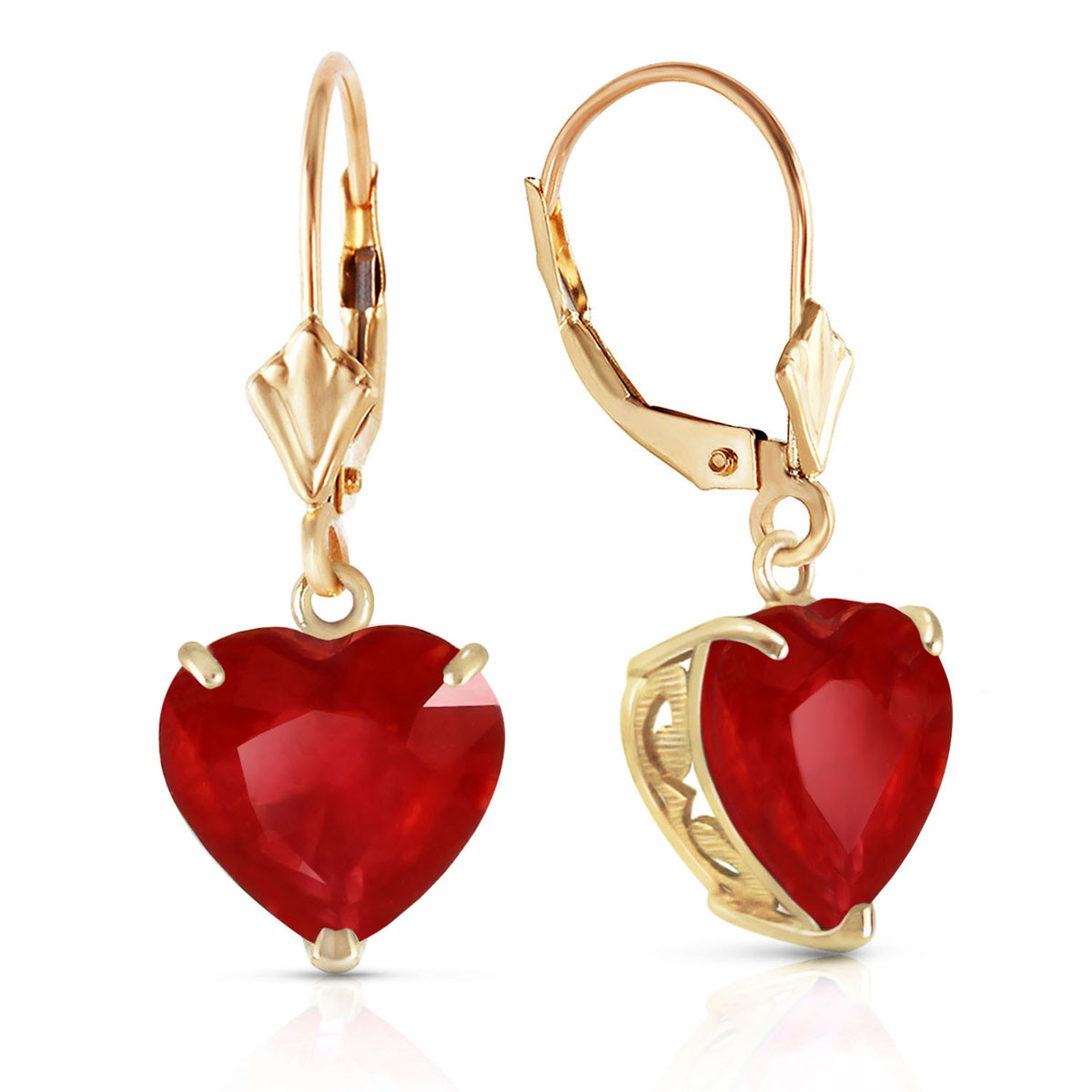 Ruby Large Heart Earrings 8.6 ctw in 9ct Gold