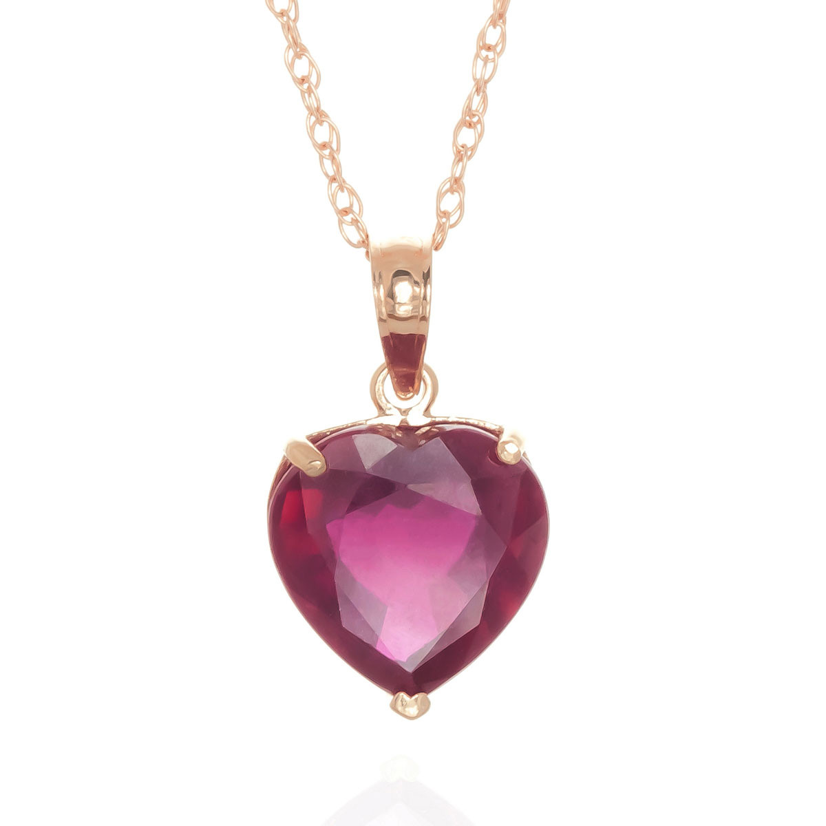 Ruby Large Heart Pendant Necklace 4.3 ct in 9ct Rose Gold