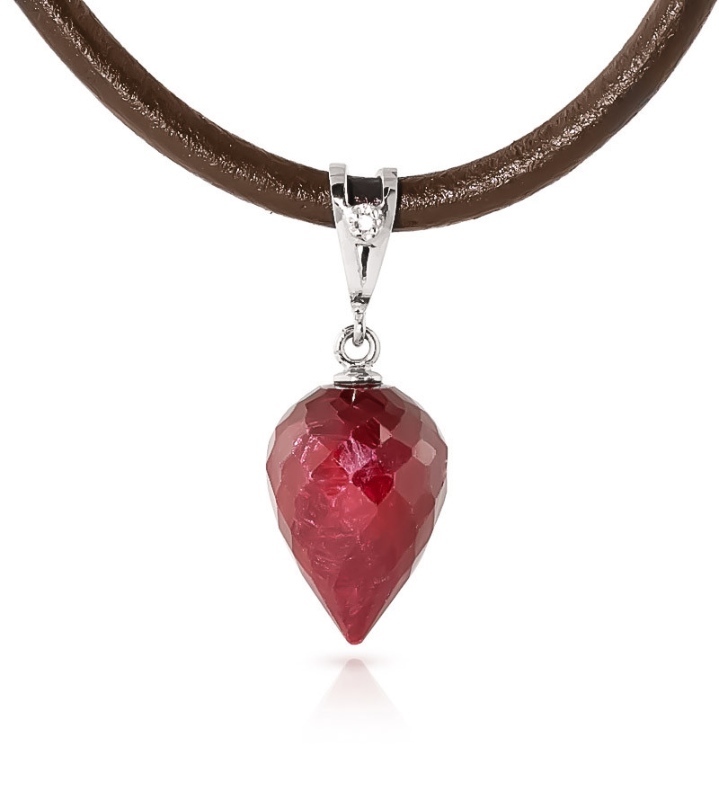 Ruby Leather Pendant Necklace 13.01 ctw in 9ct White Gold