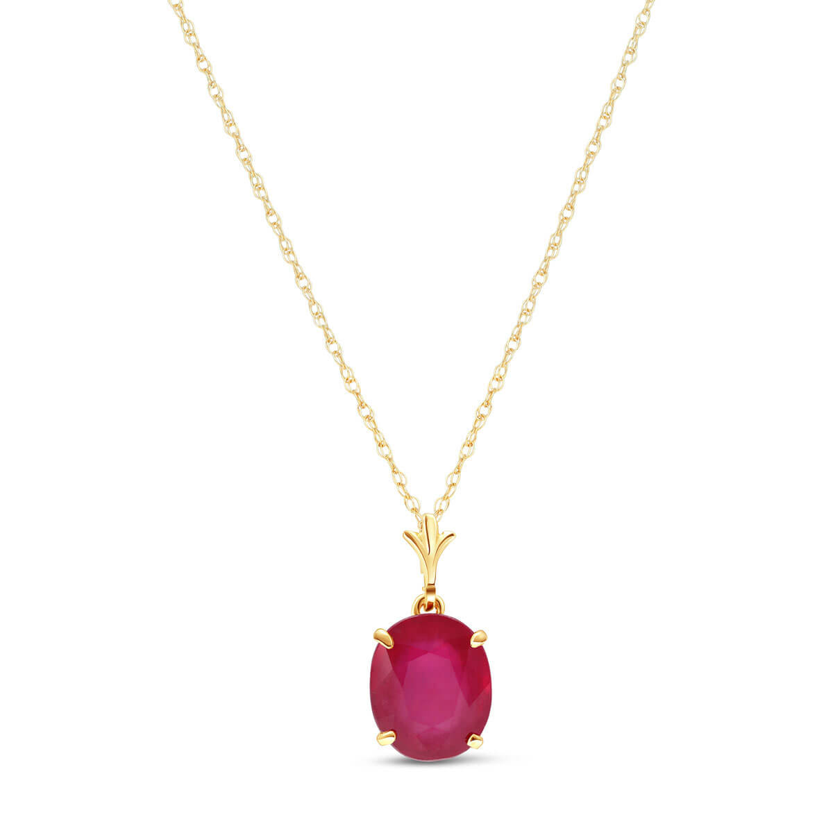 Ruby Oval Pendant Necklace 3.5 ct in 9ct Gold