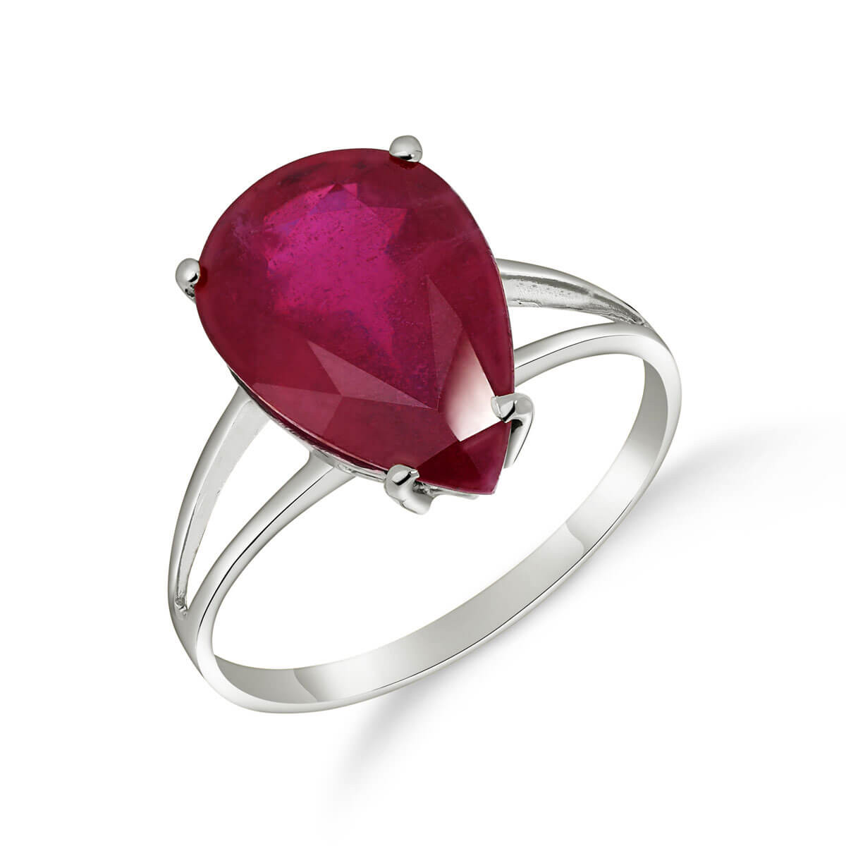 Ruby Pear Drop Ring 5 ct in 9ct White Gold