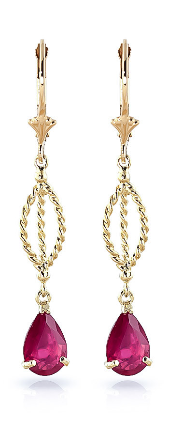 Ruby Sceptre Drop Earrings 3.5 ctw in 9ct Gold
