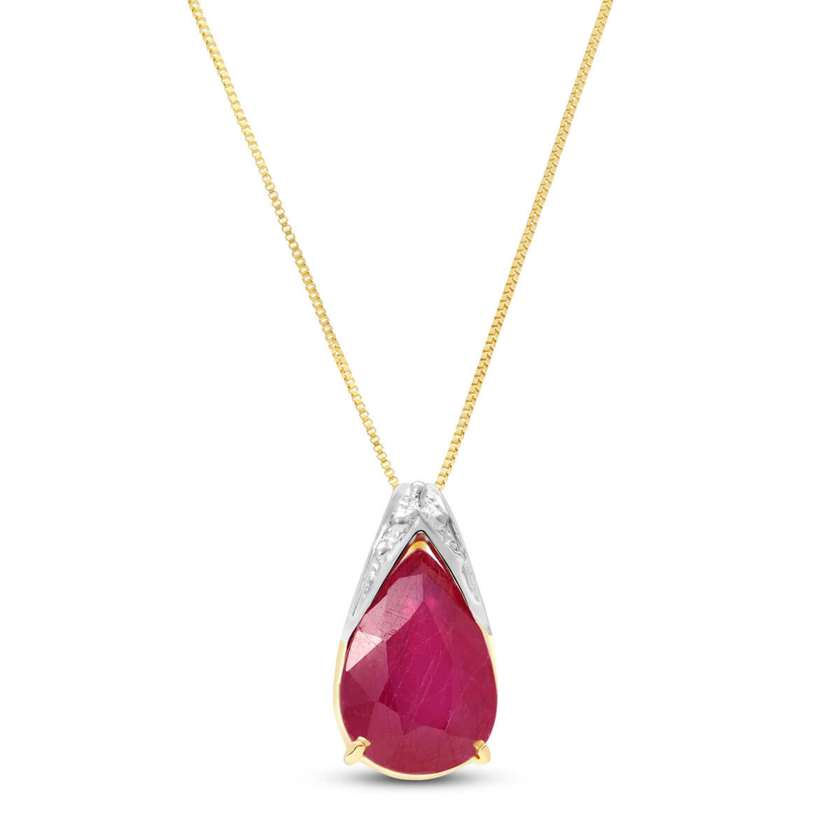 Ruby Snowcap Pendant Necklace 5 ct in 9ct Gold