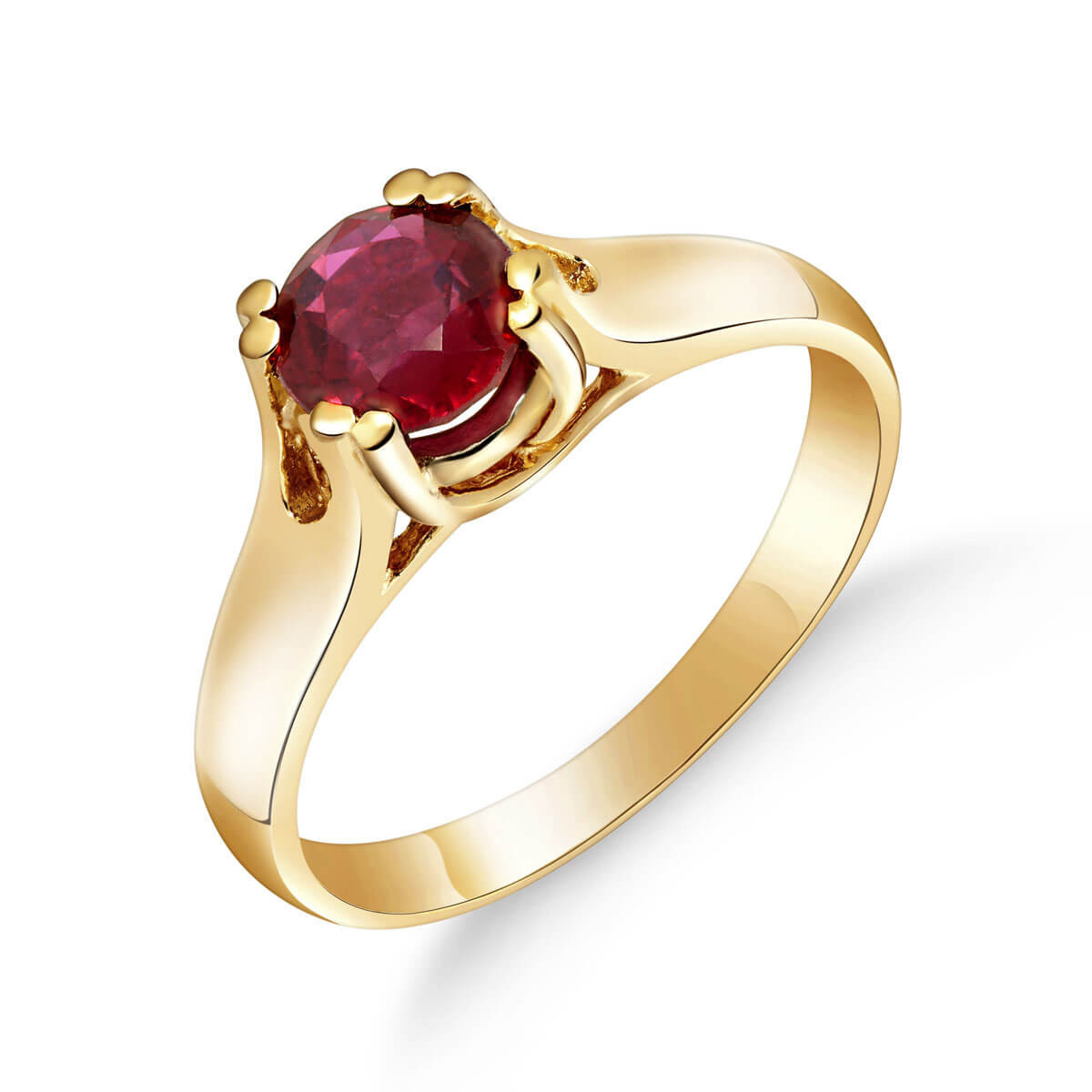 Ruby Solitaire Ring 1.35 ct in 9ct Gold