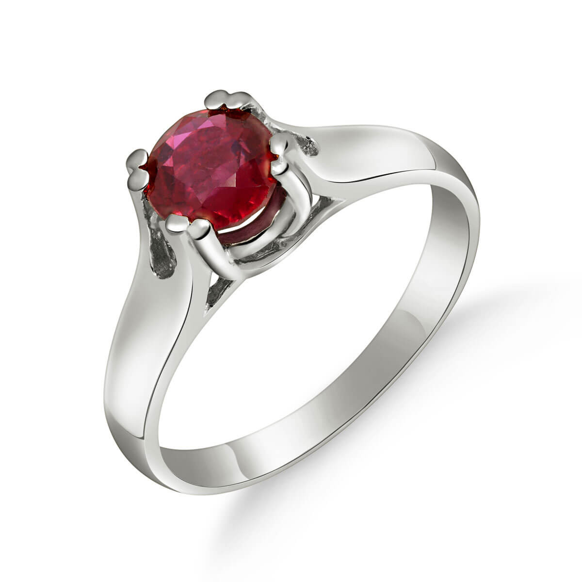 Ruby Solitaire Ring 1.35 ct in 9ct White Gold