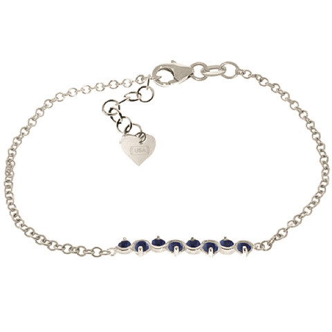 Sapphire Adjustable Bracelet 1.55 ctw in 9ct White Gold