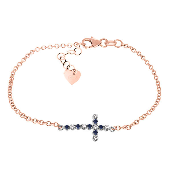 Sapphire Adjustable Cross Bracelet 0.24 ctw in 9ct Rose Gold