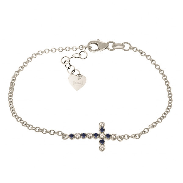 Sapphire Adjustable Cross Bracelet 0.24 ctw in 9ct White Gold