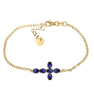 Sapphire Adjustable Cross Bracelet 1.7 ctw in 9ct Gold