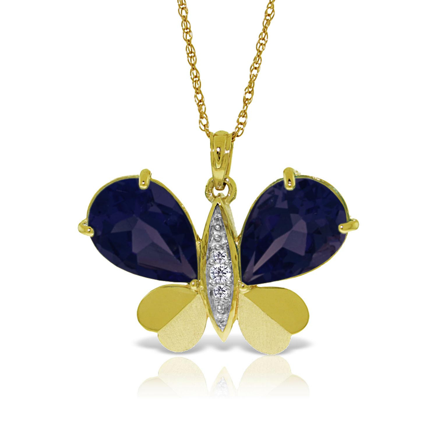 Sapphire & Diamond Butterfly Pendant Necklace in 9ct Gold