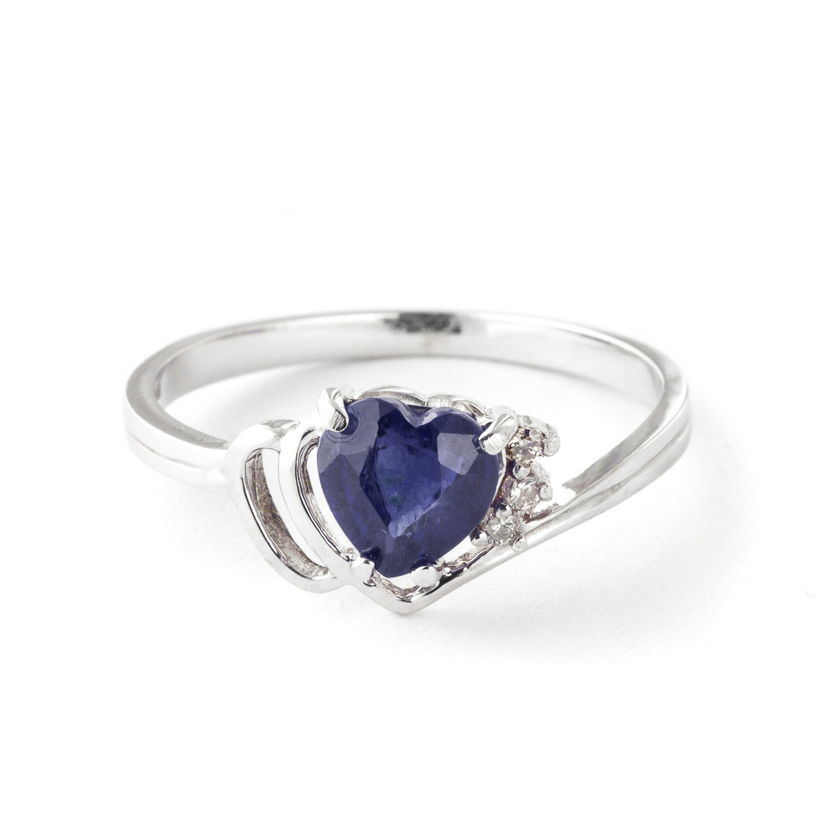 Sapphire & Diamond Devotion Ring in 9ct White Gold