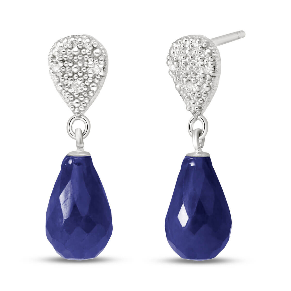 Sapphire & Diamond Droplet Earrings in 9ct White Gold