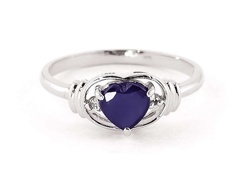 Sapphire & Diamond Halo Heart Ring in 9ct White Gold