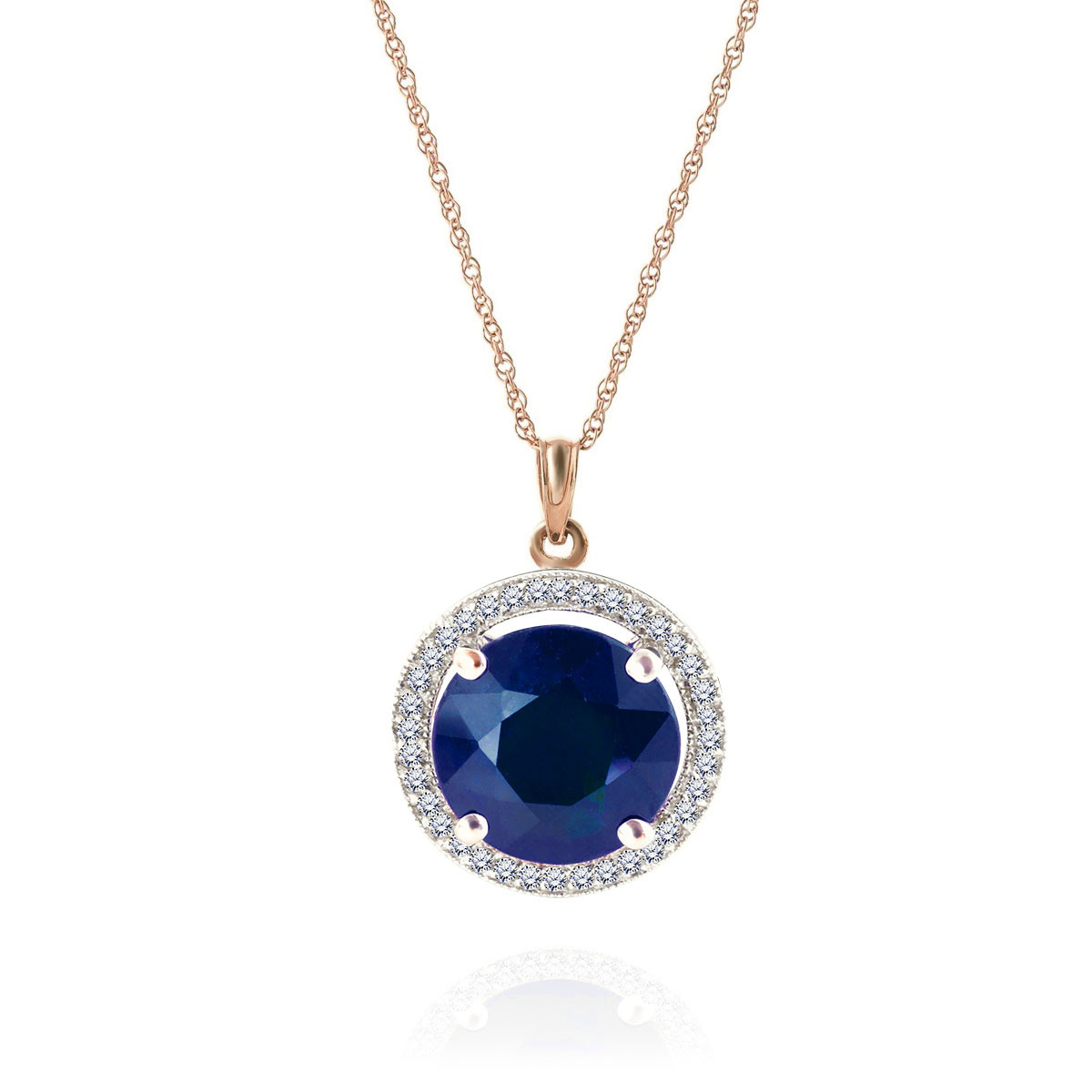 Sapphire & Diamond Halo Pendant Necklace in 9ct Rose Gold