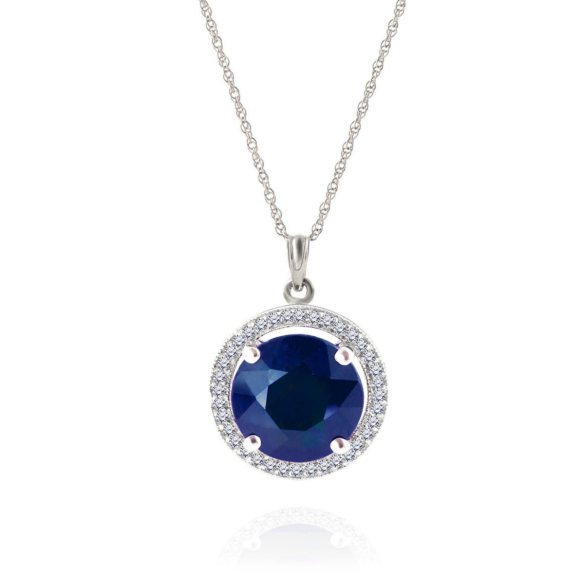 Sapphire & Diamond Halo Pendant Necklace in 9ct White Gold