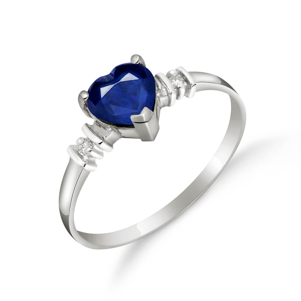 Sapphire & Diamond Heart Ring in 9ct White Gold