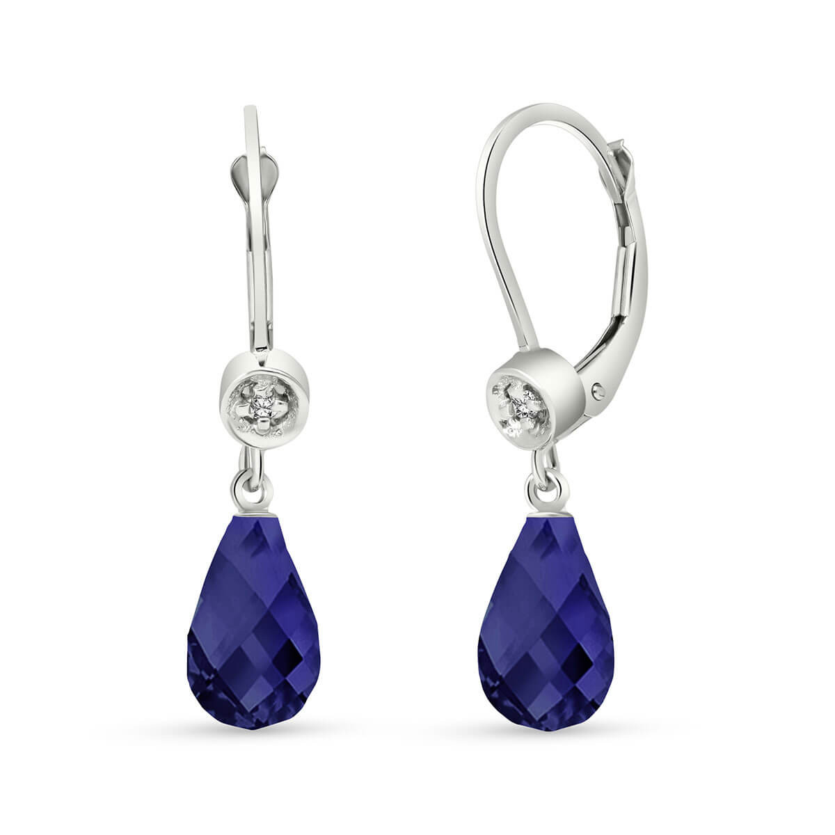 Sapphire & Diamond Illusion Drop Earrings in 9ct White Gold