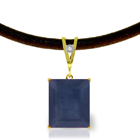 Sapphire & Diamond Leather Pendant Necklace in 9ct Gold