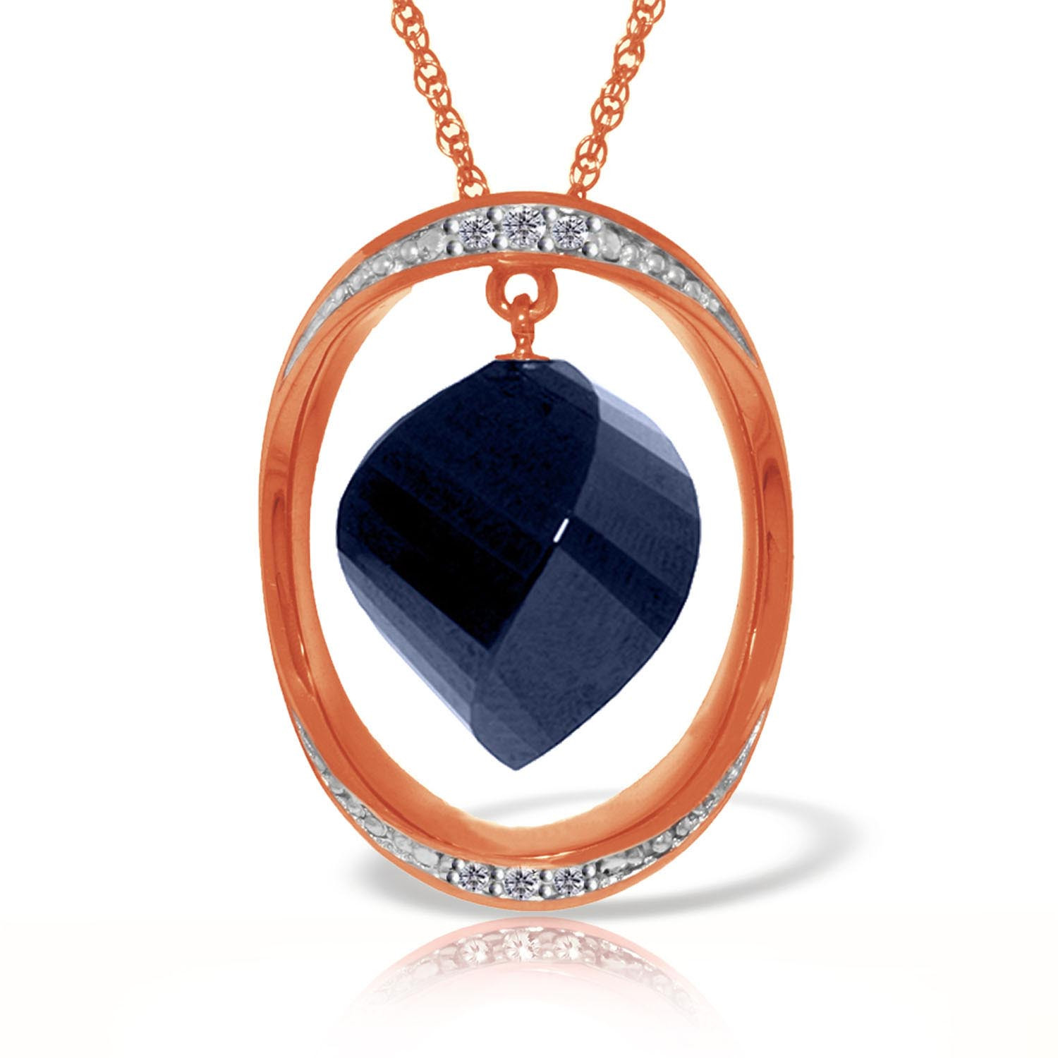 Sapphire & Diamond Pendant Necklace in 9ct Rose Gold
