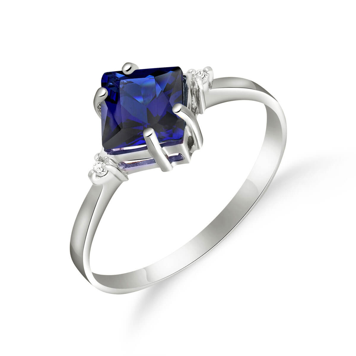 Sapphire & Diamond Princess Ring in 9ct White Gold