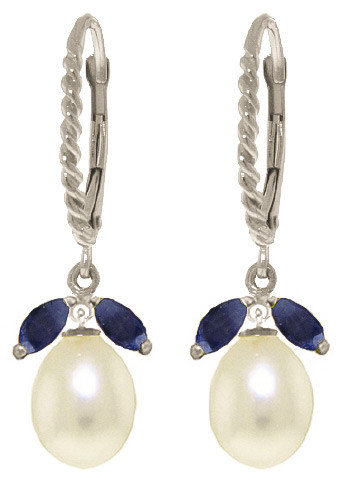 Sapphire & Pearl Drop Earrings in 9ct White Gold