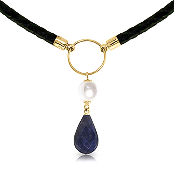 Sapphire & Pearl Leather Pendant Necklace in 9ct Gold