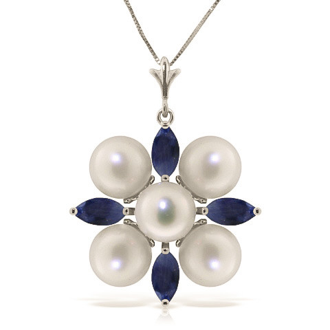 Sapphire & Pearl Pendant Necklace in 9ct White Gold