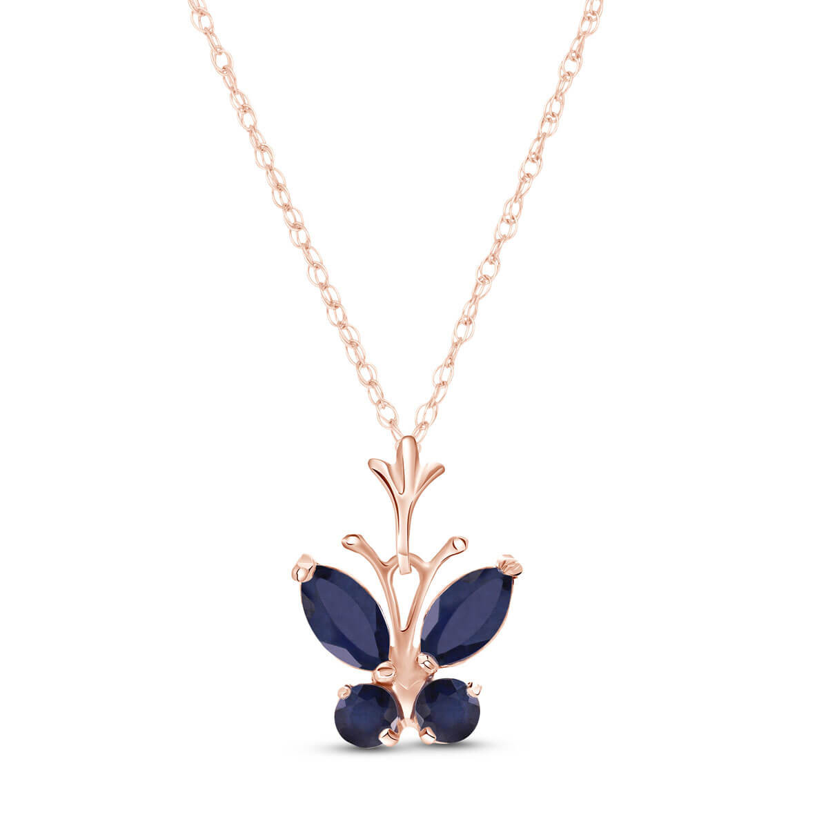 Sapphire Butterfly Pendant Necklace 0.6 ctw in 9ct Rose Gold