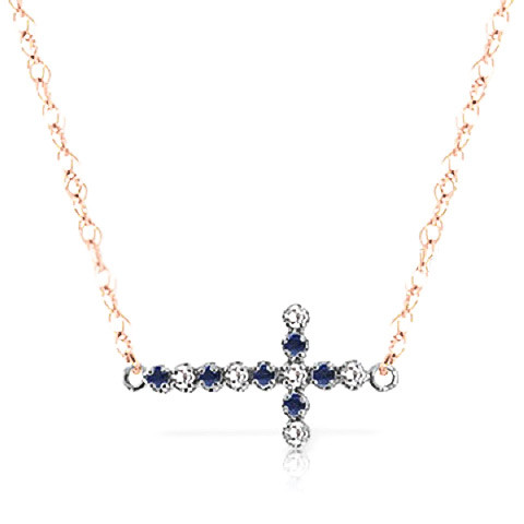 Sapphire Cross Pendant Necklace 0.24 ctw in 9ct Rose Gold