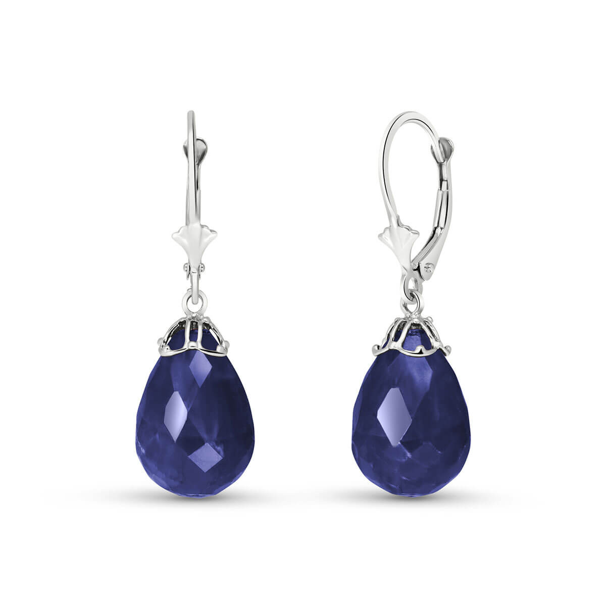 Sapphire Crown Drop Earrings 29.6 ctw in 9ct White Gold