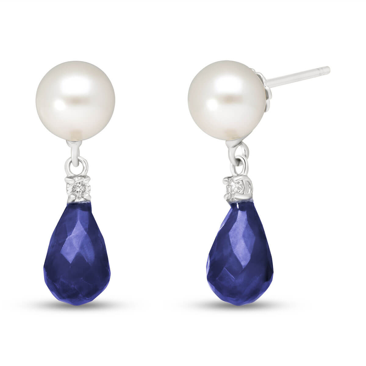 Sapphire, Diamond & Pearl Drop Earrings in 9ct White Gold