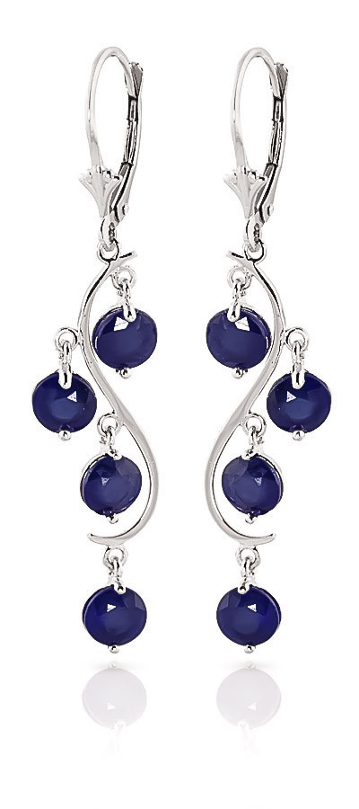 Sapphire Dream Catcher Drop Earrings 4 ctw in 9ct White Gold