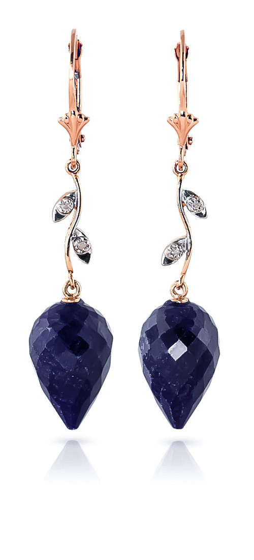 Sapphire Drop Earrings 25.72 ctw in 9ct Rose Gold