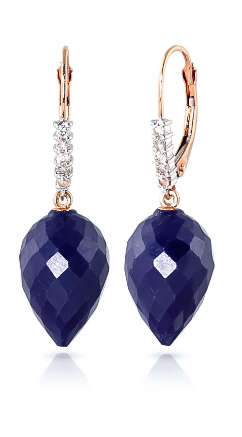 Sapphire Drop Earrings 25.95 ctw in 9ct Rose Gold