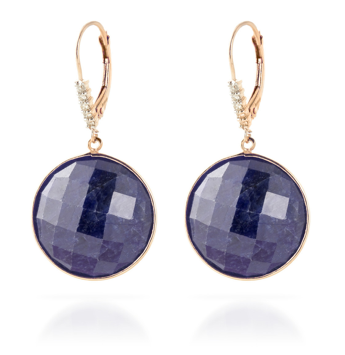 Sapphire Drop Earrings 46.15 ctw in 9ct Rose Gold