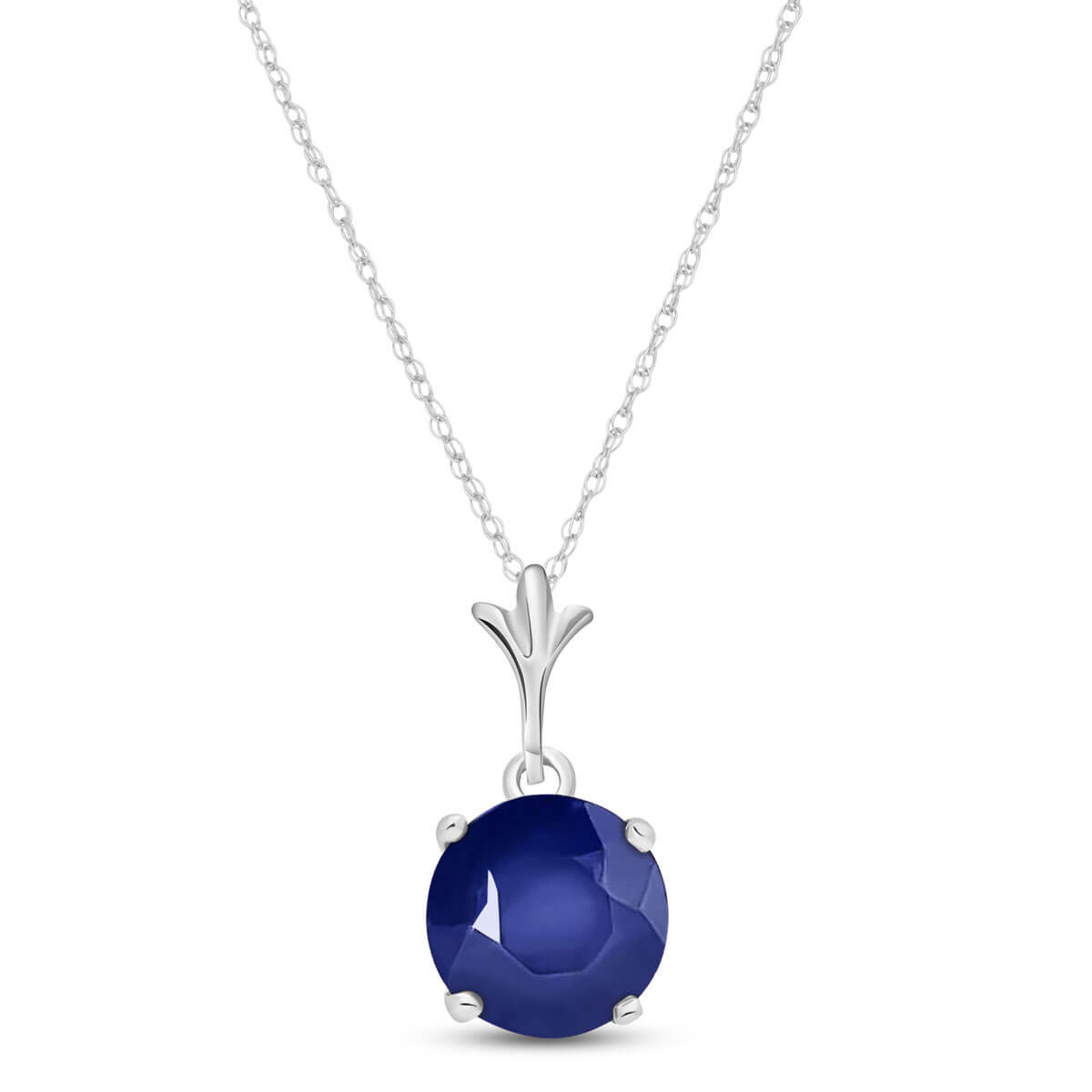 Sapphire Drop Pendant Necklace 1.65 ct in 9ct White Gold